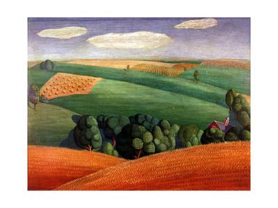 Farm Landscape Lámina giclée por Grant Wood