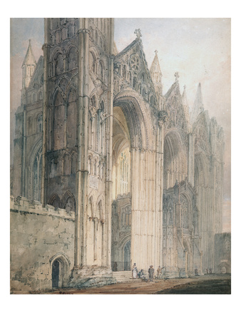 Peterborough Cathedral (W/C on Paper) Premium Giclee Print by Thomas Girtin