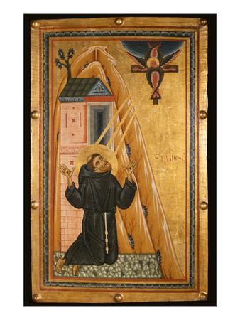 St. Francis Receives the Stigmata, Mid-13th Century (Tempera on Wood) Premium Giclee Print by Bonaventura Berlinghieri