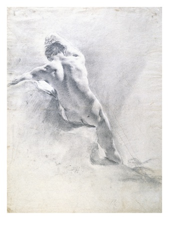 Study of a Male Nude, C.1715 (Black Chalk Heightened with White on Paper) Premium Giclee Print by Giambattista Piazzetta or Piazetta
