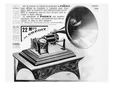 Advertisement for the Phonograph, C.1905 (Engraving) (B/W Photo) Premium Giclee Print by  French