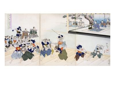 Warlord Watches Samurai Practising their Swordplay (Colour Woodblock Print) Premium Giclée-tryk af  Japanese