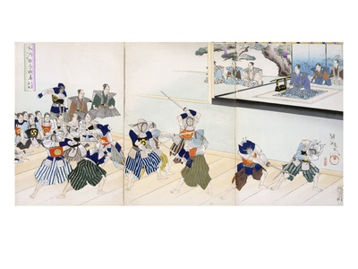 Warlord Watches Samurai Practising their Swordplay (Colour Woodblock Print) Premium Giclee Print by  Japanese