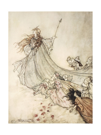 ..Fairies Away! We Shall Chide Downright, If I Longer Stay Premium Giclee Print by Arthur Rackham