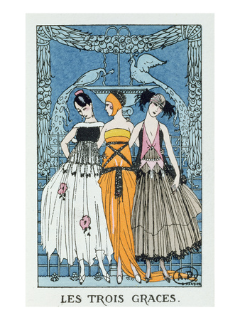 Les Trois Graces, 1918 (Colour Litho) Premium Giclee Print by Georges Barbier