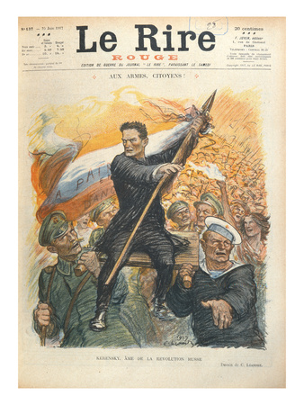 Caricature of Alexander Kerensky (1881-1970), Cover of the French Magazine 'Le Rire' 30th June 1917 Premium Giclee Print by Charles Leandre