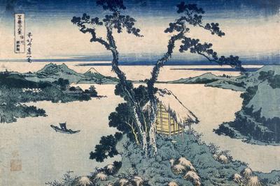 The Suna Lake (Colour Woodblock Print) Premium Giclée-tryk af Katsushika Hokusai