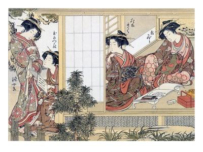 Japanese Women Reading and Writing (Colour Woodblock Print) Premium Giclée-tryk af Katsukawa Shunsho