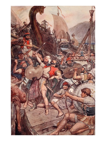 Death of the Persian Admiral at Salamis, Illustration from 'Plutarch's Lives for Boys and Girls' Premium Giclee Print by William Rainey