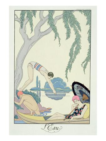 Water, 1925 (Pochoir Print) Premium Giclee Print by Georges Barbier