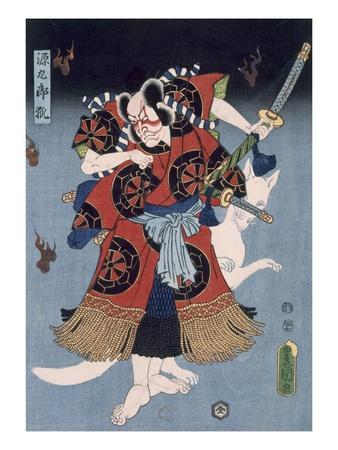 The Warrior (Colour Woodblock Print) Premium Giclée-tryk af Utagawa Kunisada
