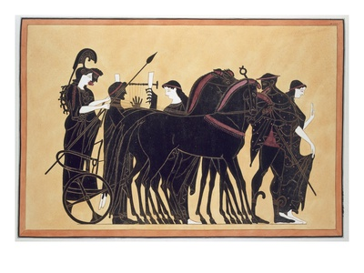 Minerva in a War Chariot with Attendants, Published 1808-10 (Colour Litho) Premium Giclee Print by  French