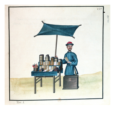 The Book Seller, from a Book on the Street Calls of Peking, C.1785 (W/C and Gouache on Paper) Giclee Print by  French