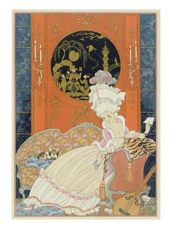 Illustration for 'Fetes Galantes' by Paul Verlaine (1844-96) 1928 (Pochoir Print) Premium Giclee Print by Georges Barbier