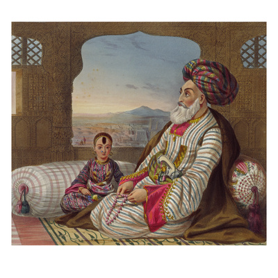 Dost Mahommed (1793-1863) King of Caubul and His Youngest Son, Plate 2 Giclee Print by James Rattray