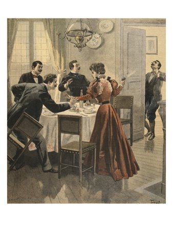 Tragic End to a Lunch, Illustration from 'Le Petit Journal: Supplement Illustre' 18th December 1898 Premium Giclee Print by  French