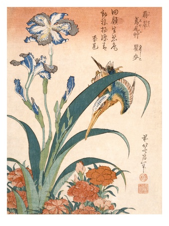 Kingfisher, Irises and Pinks (Colour Woodblock Print) Premium Giclée-tryk af Katsushika Hokusai