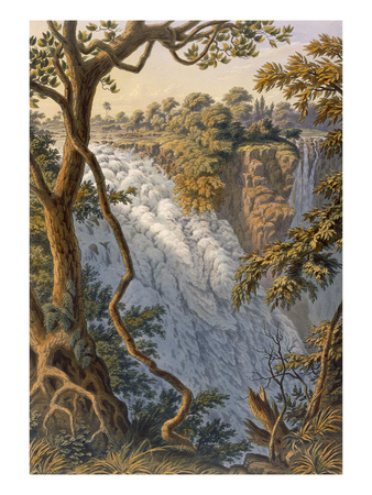 Victoria Falls: the Leaping Water (Colour Litho) Premium Giclee Print by Thomas Baines