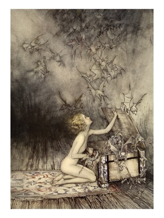 A Sudden Swarm of Winged Creatures Brushed Past Her Premium Giclee Print by Arthur Rackham