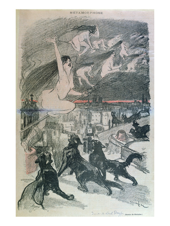 Metamorphosis - Black Cats Transforming Themselves into Witches, Late 19th Century (Colour Litho) Giclee Print by Théophile Alexandre Steinlen