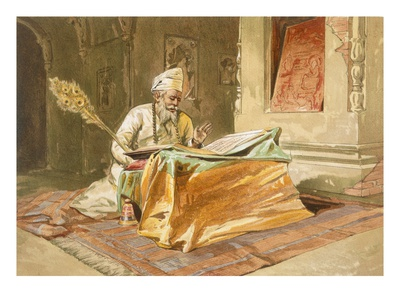 Sikh Priest Reading the Grunth, Umritsar, from 'India Ancient and Modern', 1867 (Colour Litho) Premium Giclée-tryk af William 'Crimea' Simpson