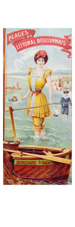Advertisement for the Beaches Along the Coast of Boulogne. C.1905 (Colour Litho) Giclee Print by  French