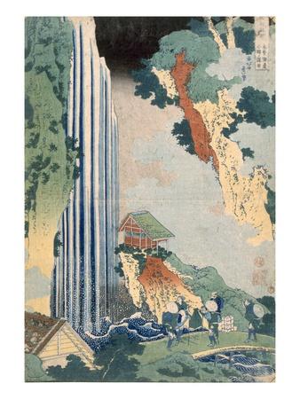Ona Waterfall on the Kisokaido, 1827 (Colour Woodblock Print) Premium Giclée-tryk af Katsushika Hokusai