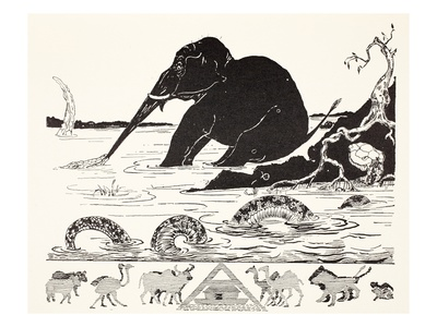 The Elephant's Child Having His Nose Pulled by the Crocodile Premium Giclee Print by Rudyard Kipling