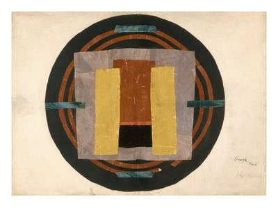 Circular Design for a Rug, 1916 (W/C and Collage on Paper) Premium Giclee Print by Roger Eliot Fry
