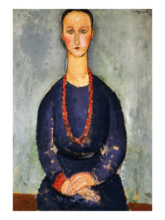The Red Necklace, 1918 Premium Giclee Print by Amedeo Modigliani