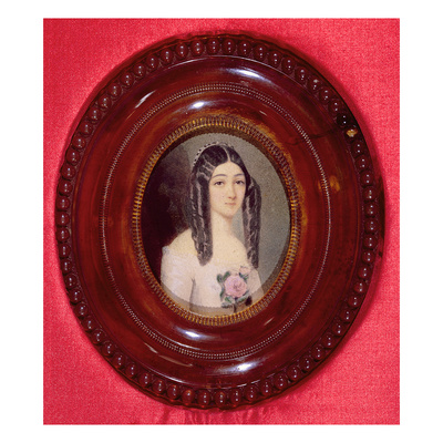 Portrait of Marie Duplessis (1824-1847) also known as 'La Dame Aux Camelias', 1847 (W/C on Paper) Giclee Print by  French