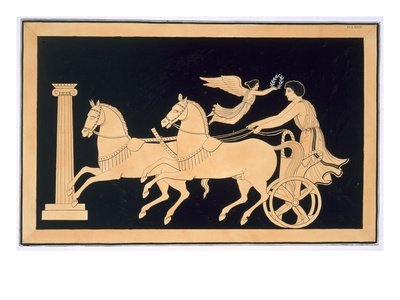 Olympian Charioteer Crowned with a Laurel Wreath, Published 1808-10 (Colour Litho) Premium Giclee Print by  French