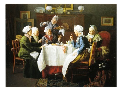 A Grandmother's Tea Party, 1915 Premium Giclee Print by Louis Charles Moeller