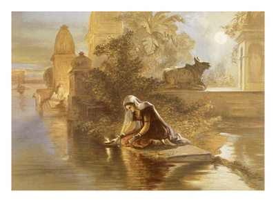 Indian Woman Floating Lamps on the Ganges, from 'India Ancient and Modern', 1867 (Colour Litho) Premium Giclée-tryk af William 'Crimea' Simpson
