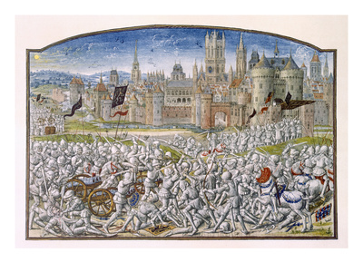 T.2 Fol.287 Victory of the Inhabitants of Ghent Led by Philipp Van Artevelde before Bruges in 1381 Premium Giclee Print by  French