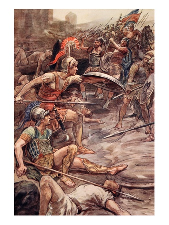 Epaminondas Defending Pelopidas, Illustration from 'Plutarch's Lives for Boys and Girls' Premium Giclee Print by William Rainey