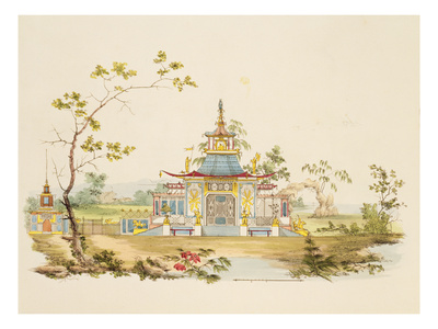 Design for a Chinese Temple, C.1810 (Pen and Ink and W/C on Paper) Premium Giclee Print by G. Landi