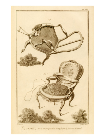 The Process of Upholstering a Chair, from the 'Encyclopedie Des Sciences Et Metiers' Premium Giclee Print by  French