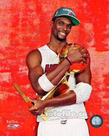 Chris Bosh with the NBA Championship Trophy Game 5 of the 2012 NBA Finals Photo