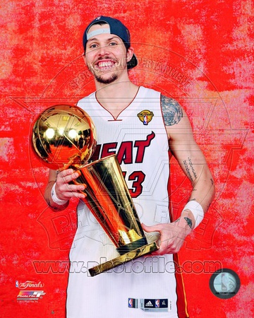 Mike Miller with the NBA Championship Trophy Game 5 of the 2012 NBA Finals Photo