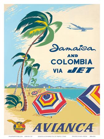 Jamaica & Columbia via Jet Travel c.1960s Poster