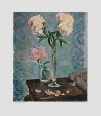 Peonías blancas enanas Lámina coleccionable por Otto Laible