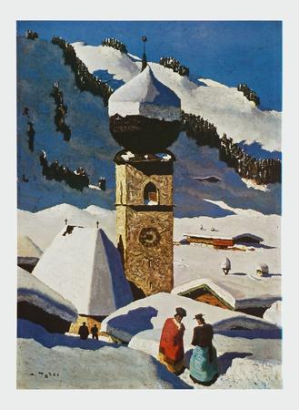 The Church of Aurach - Tyrolian Village Prints by Alfons Walde