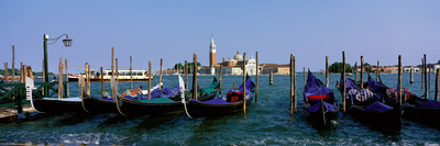 Church of San Giorgio Maggiore and Gondolas Venice Italy Photographic Print by  Panoramic Images