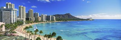 Palm Trees on the Beach, Diamond Head, Waikiki Beach, Oahu, Honolulu, Hawaii, USA Fotografisk tryk af Panoramic Images,