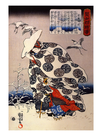 Tokiwa Gozen with Her Three Children in the Snow Giclee Print by Kuniyoshi Utagawa