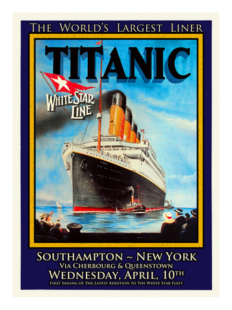 Titanic White Star Line Travel Poster 1 Giclee Print by Jack Dow
