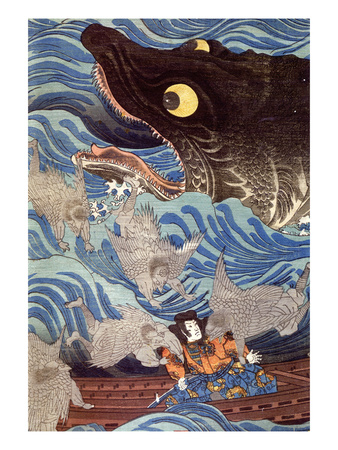 Samurai on the Small Boat Giclee Print by Kuniyoshi Utagawa