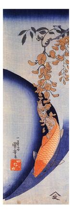 Red Carp under Wisteria Giclee Print by Kuniyoshi Utagawa