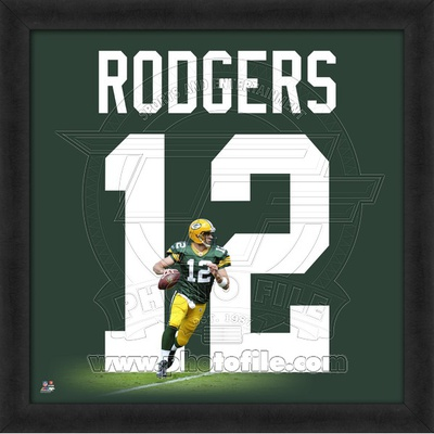 Aaron Rodgers, Packers (Home) photographic representation of the player's jersey Framed Memorabilia!